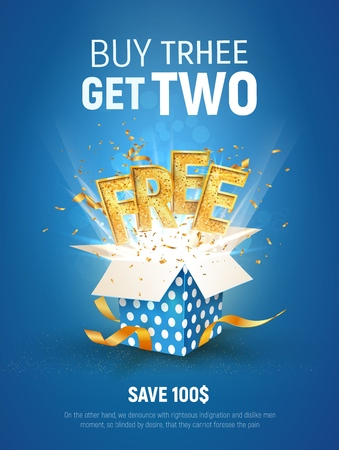 Buy 3 get 2 free vector illustration. Ad Special offer super sale. Free gold word and blue gift box on light background