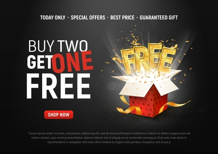 Buy 2 get 1 free vector illustration. Ad Special offer super sale red gift box on dark background Иллюстрация