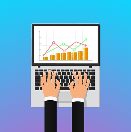 Stock exchange vector illustration concept. Laptop screen with abstract stock market growth and businessman hands isolated design elements on gradient background