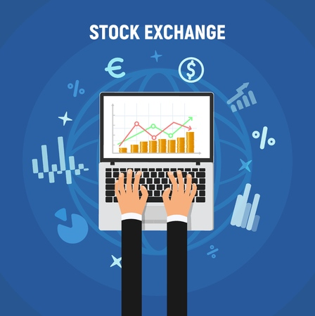 Stock exchange vector illustration concept. Laptop screen with abstract stock market rate and businessman hands isolated design elements.