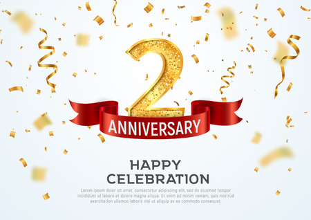2 years anniversary vector banner template. Two year jubilee with red ribbon and confetti on white background Illustration