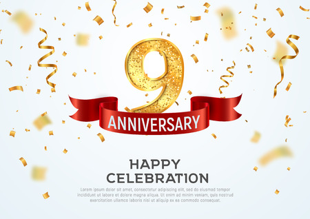 9 years anniversary vector banner template. Nine year jubilee with red ribbon and confetti on white background 일러스트