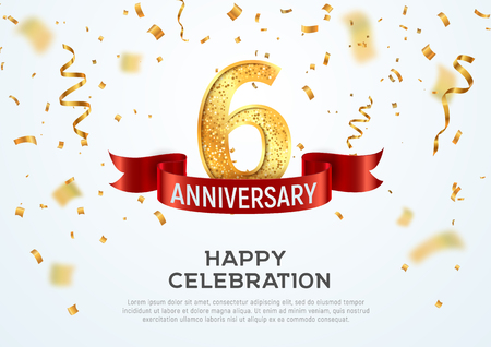 6 years anniversary vector banner template. Six year jubilee with red ribbon and confetti on white background