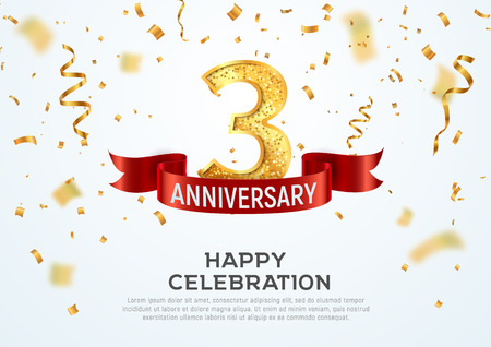 3 years anniversary vector banner template. Three year jubilee with red ribbon and confetti on white background