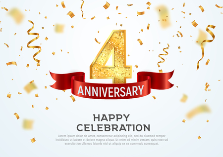 4 years anniversary vector banner template. Four year jubilee with red ribbon and confetti on white background