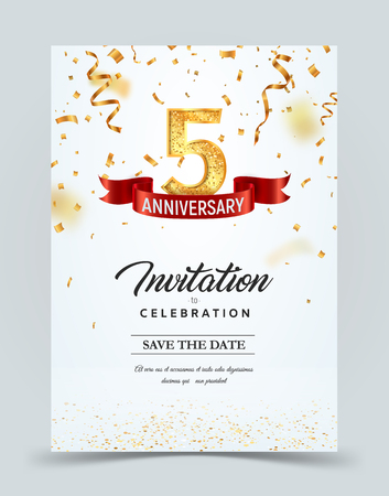Invitation card template of 5 years anniversary with abstract text vector illustration. Greeting card template Golden number five with red ribbon on falling down confetti background
