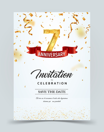 Invitation card template of 7 years anniversary with abstract text vector illustration. Greeting card template Golden number seven with red ribbon on falling down confetti background