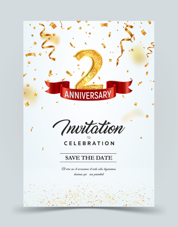 Invitation card template of 2 years anniversary with abstract text vector illustration. Greeting card template Çizim