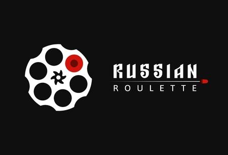 Icône de cylindre de revolver avec une balle. Illustration vectorielle de roulette russe vieux jeu. Logo vectoriel de cartouche d'arme de poing Logo