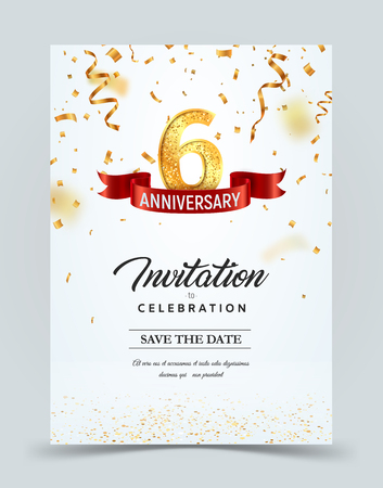 Invitation card template of 6 years anniversary with abstract text vector illustration. Greeting card template Golden number six with red ribbon on falling down confetti background