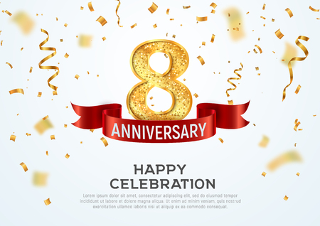 8 years anniversary vector banner template. Eight year jubilee with red ribbon and confetti on white background
