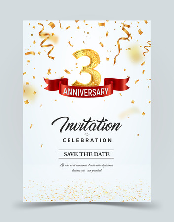 Invitation card template of 3 years anniversary with abstract text vector illustration. Greeting card template