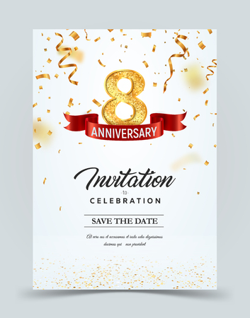 Invitation card template of 8 years anniversary with abstract text vector illustration. Greeting card template Golden number eight with red ribbon on falling down confetti background