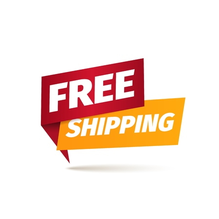 Free shipping isolated vector icon. Delivery service pointer. Sticker of cargo services Stock Illustratie