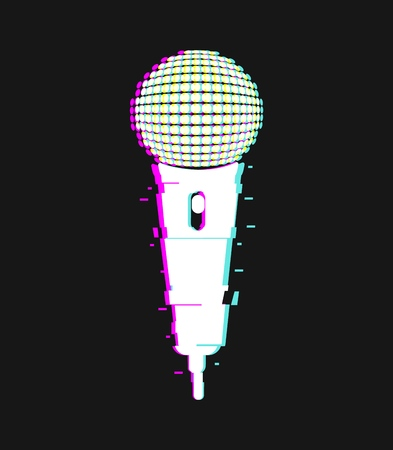 Microphone glitch effect vector isolated single object. Mic icon with distortion and light aberration