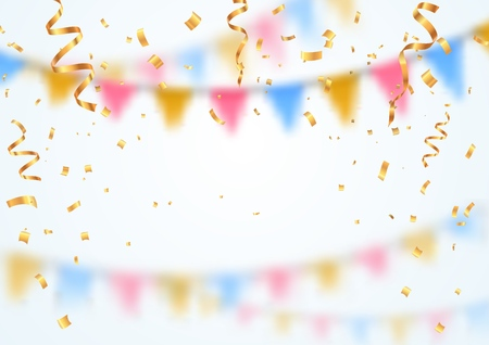 Celebration background template. Golden confetti falling down on white blurred background. Vector illustration