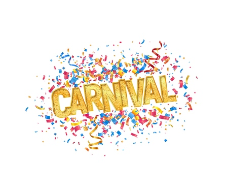 Isolated vector Carnival golden word and colorful confetti on white background design element.
