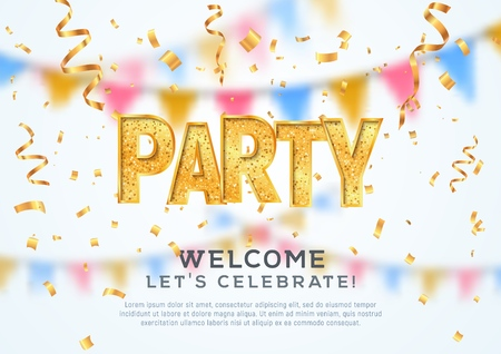 Music party banner. Welcome to festival vector illustration. Golden textured word on bright holiday blurred background Illustration