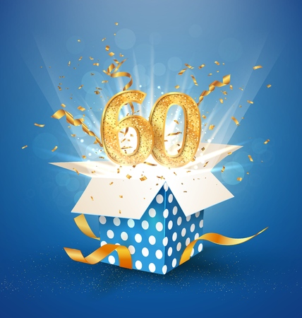 60 th years anniversary and open gift box with explosions confetti. Isolated design element. Template sixty birthday celebration on blue background vector Illustration Vektoros illusztráció