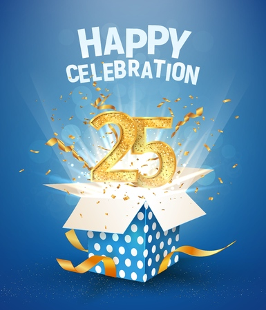 25 th years anniversary and open gift box with explosions confetti. Isolated design element. Template twenty five birthday celebration on blue background vector Illustration Illustration