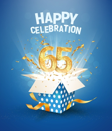 65 th years anniversary and open gift box with explosions confetti. Isolated design element. Template sixty fifth birthday celebration on blue background vector Illustration Illustration