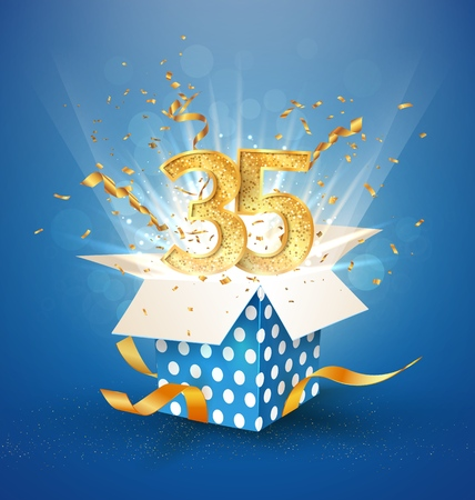 35 th years anniversary and open gift box with explosions confetti. Isolated design element. Template thirty five birthday celebration on blue background vector Illustration Illustration