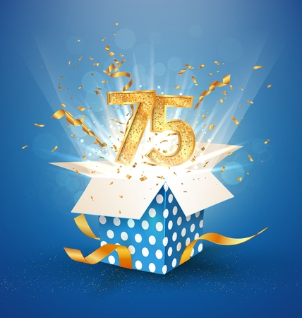 75 th years anniversary and open gift box with explosions confetti. Isolated design element. Template seventy fifth birthday celebration on blue background vector Illustration