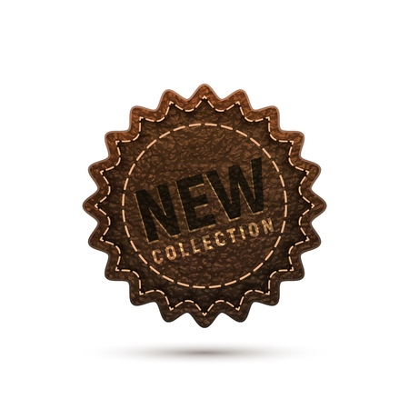 New label sticker leather imitation texture. Isolated vector illustration