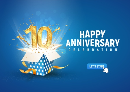 10 th years anniversary banner with open burst gift box. Template tenth birthday celebration and abstract text on blue background vector illustration