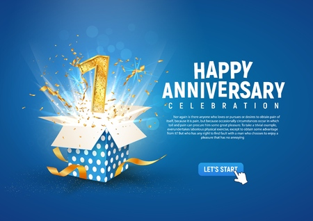 1 st year anniversary banner with open burst gift box. Template first birthday celebration and abstract text on blue background vector illustration Illustration