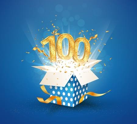 100 th years anniversary and open gift box with explosions confetti. Isolated design element. Template hundredth birthday celebration on blue background vector Illustration 向量圖像