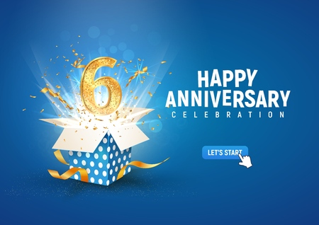 6 th years anniversary banner with open burst gift box. Template sixth birthday celebration and abstract text on blue background vector illustration