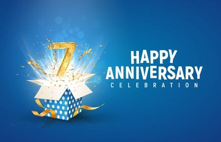 7. Jubiläumsbanner mit offener Geschenkbox. Siebte Geburtstagsfeier der Schablone und abstrakter Text auf blauer Hintergrundvektorillustration