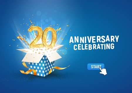 20 th years anniversary banner with open burst gift box. Template twentieth birthday celebration and abstract text on blue background vector illustration Illustration