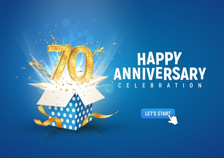 70 th years anniversary banner with open burst gift box. Template seventieth birthday celebration and abstract text on blue background vector illustration Illustration