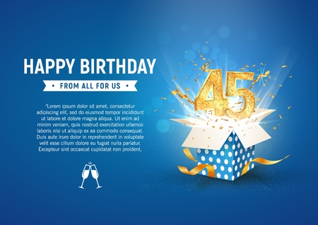 45 th years anniversary banner with open burst gift box. Template forty fifth birthday celebration and abstract text on blue background vector Illustration