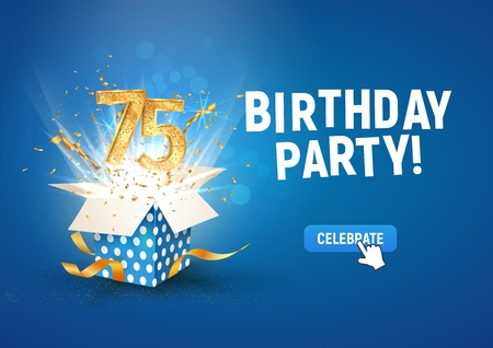 75 th years anniversary banner with open burst gift box. Template seventy five birthday celebration and abstract text on blue background vector Illustration Illustration