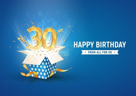 30 th years anniversary banner with open burst gift box. Template thirty birthday celebration and abstract text on blue background vector illustration Vectores
