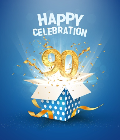 90 th years anniversary and open gift box with explosions confetti. Isolated design element. Template ninety birthday celebration on blue background vector Illustration