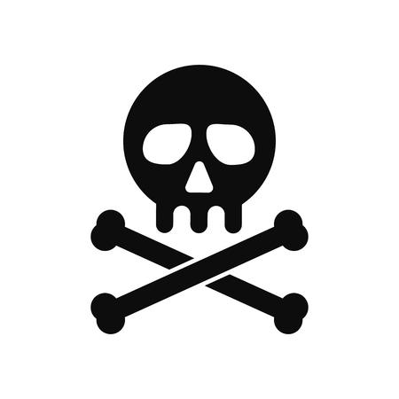 Isolated Human skull vector icon. Virus detection error warning symbol Vetores