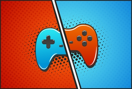 Cybersport versus battle template vector illustration. Red and blue gamepads pop art style Illustration