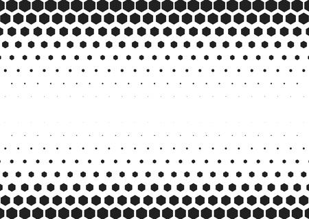 Hexagonal halftone geometric pattern background. Monochrome vector illustration