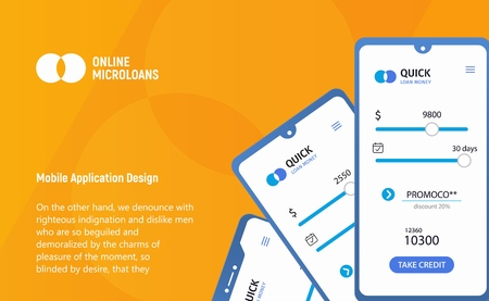 Loan money mobile application concept. App micro credit ui ux interface. Mockup mobile phones with tarriff plans on yellow background