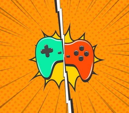 Console battle pop art vector illustration. Cybersports tournament consept. Green and red cartoon gamepads