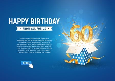 60-jarig jubileumbanner met open burst-geschenkdoos. Sjabloon zestigste verjaardag en abstracte tekst op blauwe achtergrond vectorillustratie