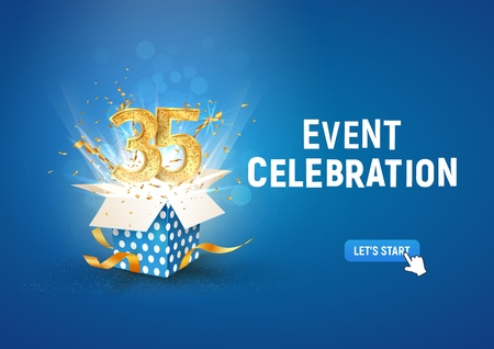 35 th years anniversary banner with open burst gift box. Template thirty fifth birthday celebration and abstract text on blue background vector Illustration Illustration