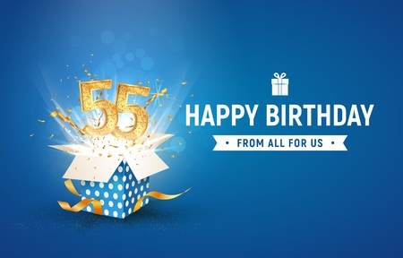 55 th years anniversary banner with open burst gift box. Template fifty fifth birthday celebration and abstract text on blue background vector Illustration