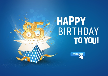 85 th years anniversary banner with open burst gift box. Template eighty fifth birthday celebration and abstract text on blue background vector Illustration