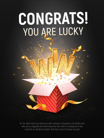 WIN gold text vector illustration. Open textured red box with confetti explosion inside and golden winning word on dark black background Vectores