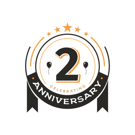 Birthday vintage logo template 2 nd anniversary circle retro isolated vector emblem. Second years old badge on white background 일러스트